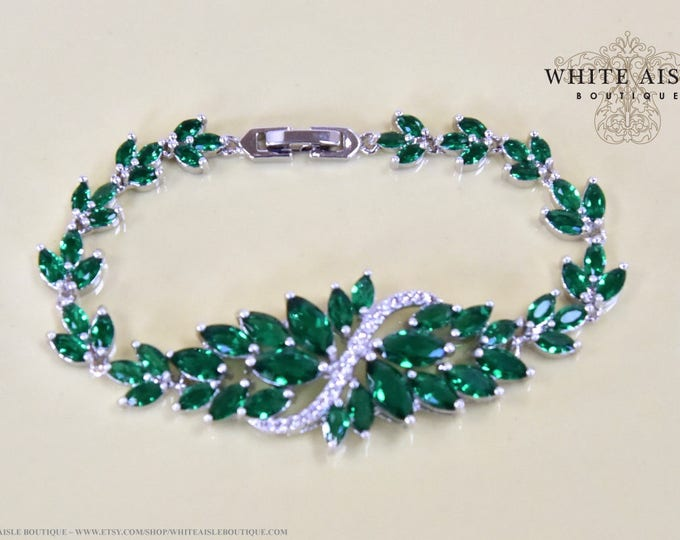 Emerald Green Bridal Bracelet Vintage Style Cubic Zirconia Wedding Bracelet Special Occasion Jewelry Bridesmaid Bridal Party Gifts