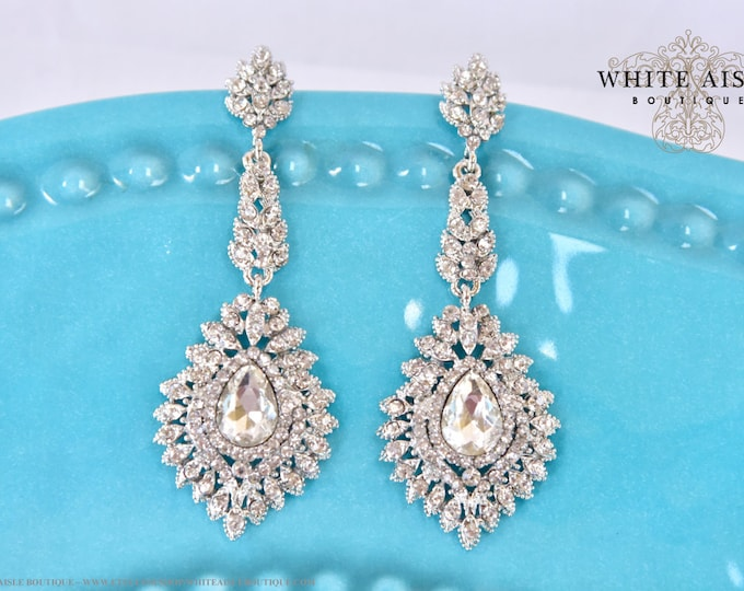 Crystal Bridal Earrings Wedding Chandelier Statement Earrings Vintage Style Special Occasion Jewelry Accessories