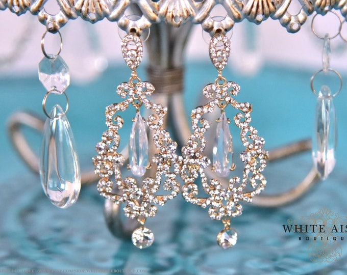 Gold Crystal Bridal Dangle Earrings Wedding Statement Earrings Vintage Style Chandelier Earrings Bridesmaid Wedding Party Gifts