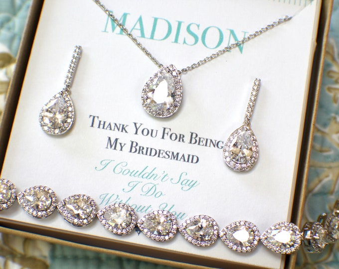 Bridesmaid Jewelry Set | Personalized Bridesmaid Gift | Bridesmaid Earrings Necklace Bracelet Set | Bridesmaid Gifts | Wedding Jewelry Set