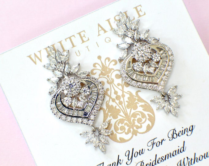 Bridesmaid Earrings | Bridesmaid Gifts | Bridesmaid Jewelry | Personalized Gifts | Chandelier Earrings | Cubic Zirconia Earrings