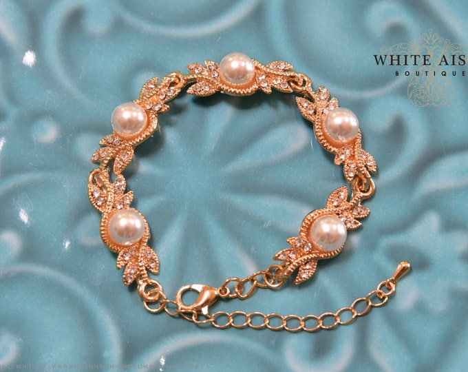 Gold Crystal Pearl Bridal Bracelet Vintage Style Statement Bracelet Special Occasion Bridesmaids Jewelry Bridal Party Gift