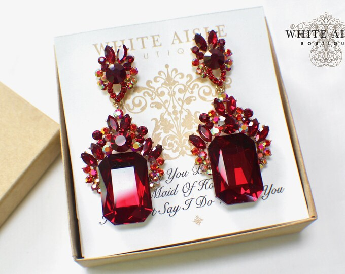 Chandelier Earrings | Bridesmaid Jewelry | Bridesmaid Gifts | Personalized Gifts | Bridesmaid Earrings | Red Crystal Earrings