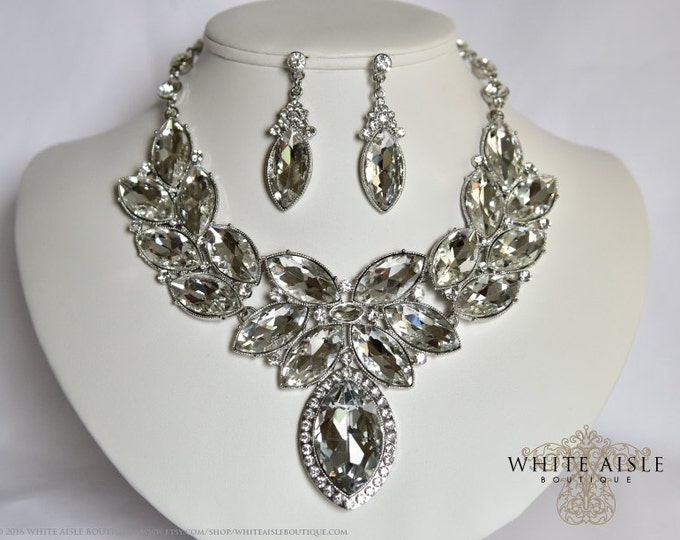Crystal Wedding Jewelry Set, Vintage Inspired Bridal Necklace, Rhinestone Statement Necklace, Chunky Necklace, Bridal Jewelry