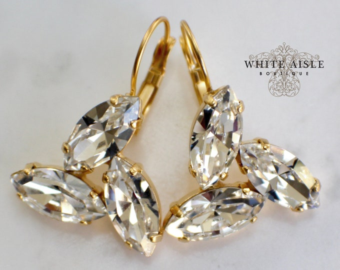 Vintage Style Bridal Earrings Swarovski Crystal Lever  Back Wedding Statement Dangle Earrings Special Occasion Jewelry