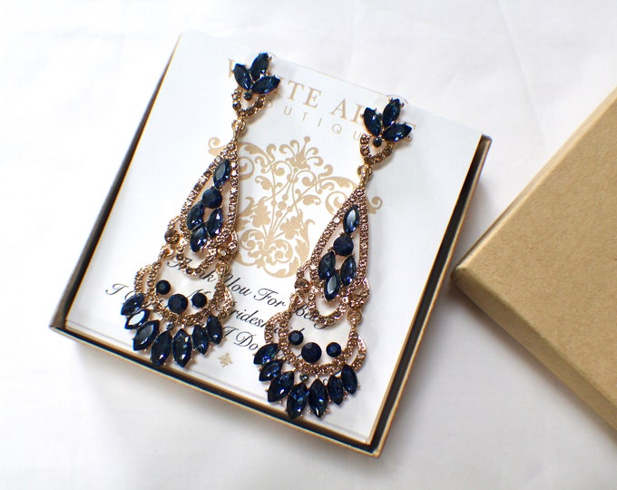 Bridesmaid Gift Navy Blue Bridesmaid Earrings Vintage Style Crystal Earrings Wedding Jewelry Bridesmaids Bridal Party Gifts