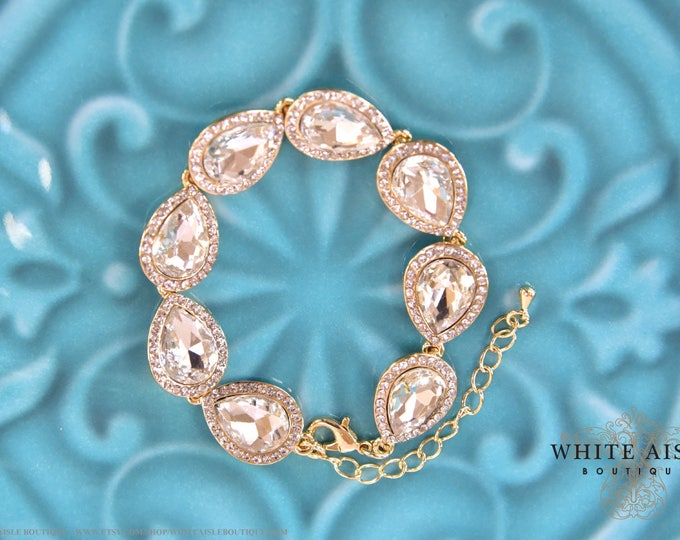 Gold Pear Crystal Bridal Bracelet Vintage Style Wedding Rhinestone Bracelet Special Occasion Jewelry Bridesmaids Bridal Party Gifts