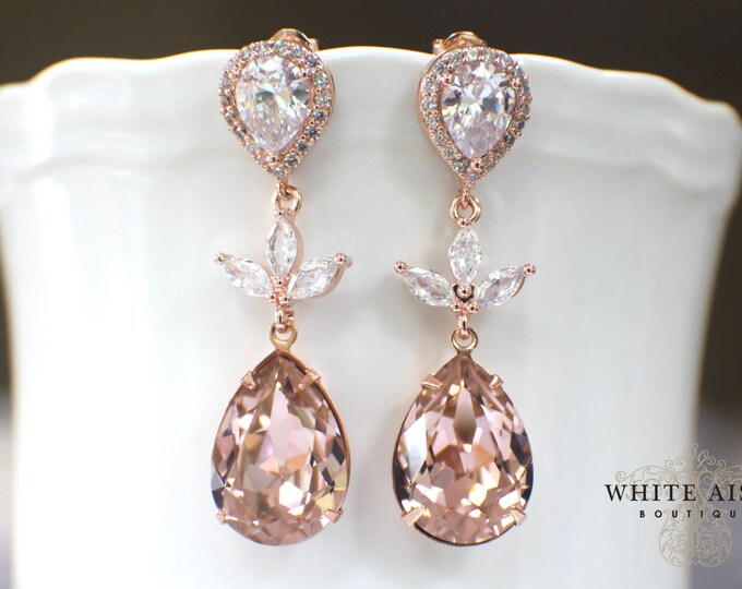 Custom Blush Rose Gold Bridal Pendant Earrings Bracelet Set Vintage Style Sworovski Crystal Wedding Jewelry Set