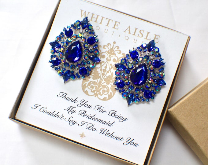 Blue Bridesmaid Earrings | Bridesmaid Gifts | Personalized Gifts | Bridesmaid Jewelry | Vintage Style Crystal Earrings