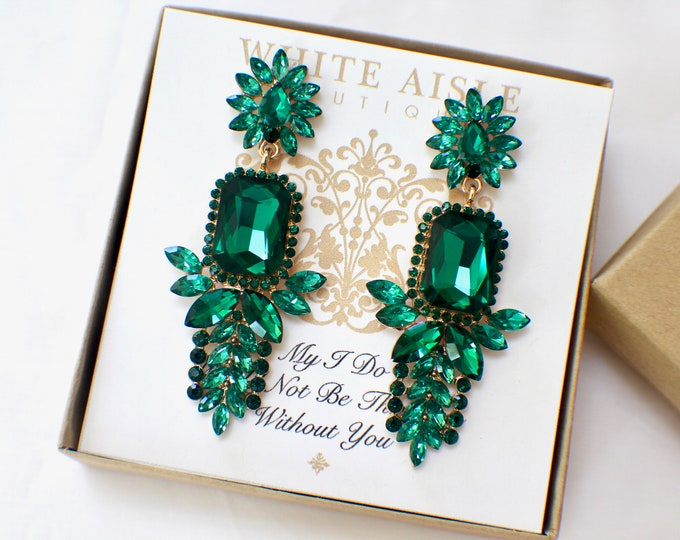 Vintage Style Earrings Emerald Green Crystal Earrings Bridesmaids Gift  Wedding Jewelry Vintage Style Bridal Bridesmaids Bridal Party Gifts