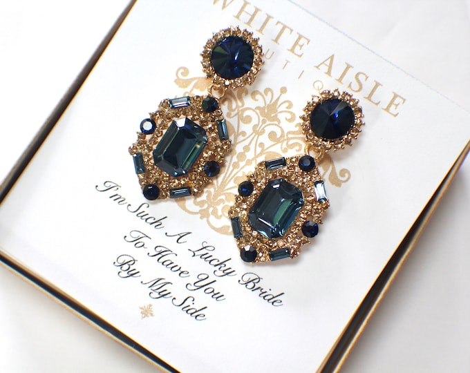 Navy Blue Bridesmaid Earrings Vintage Style Crystal Earrings Bridesmaids Gift  Wedding Jewelry Bridesmaids Bridal Party Gifts