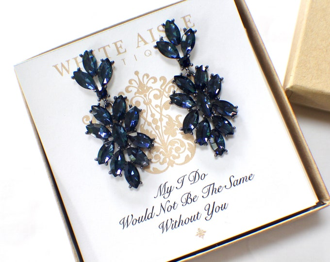 Navy Blue Bridesmaid Earrings Bridesmaids Gift  Wedding Jewelry Vintage Style Chandelier Earrings Bridal Bridesmaids Bridal Party Gifts