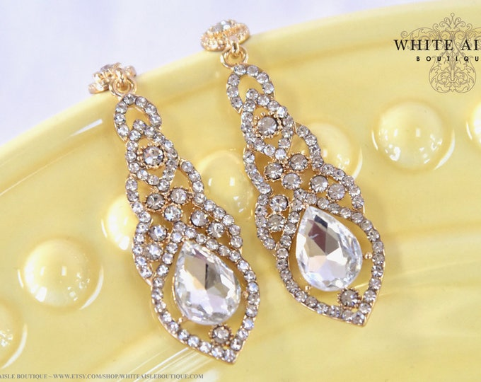 Gold Crystal Wedding Dangle Earrings Bridal Statement Earrings Vintage Style Drop Earrings Special Occasion Jewelry