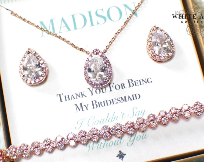 Rose Gold Bridesmaid Jewelry Set | Personalized Bridesmaid Gift | Bridesmaid Earrings Necklace Bracelet Set | Bridesmaid Gifts