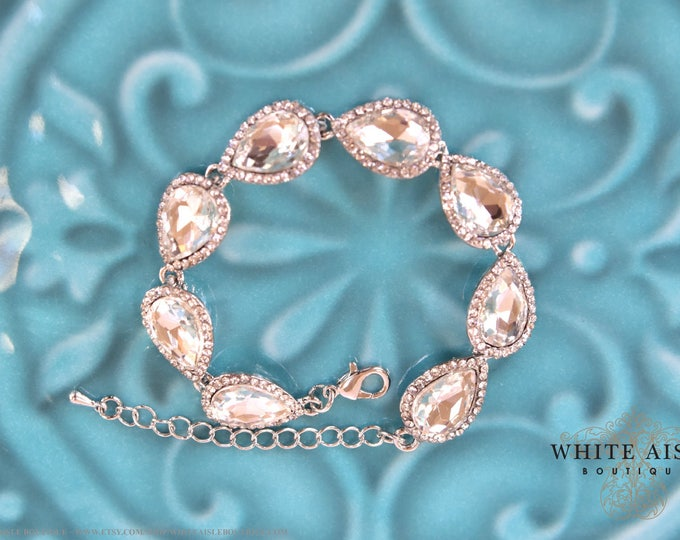 Pear Crystal Bridal Bracelet Vintage Style Wedding Rhinestone Bracelet Special Occasion Jewelry Bridesmaids Bridal Party Gifts