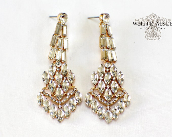 Vintage Style Earrings Crystal Chandelier Earrings Bridesmaids Gift  Wedding Jewelry Vintage Style Bridal Bridesmaids Bridal Party Gifts