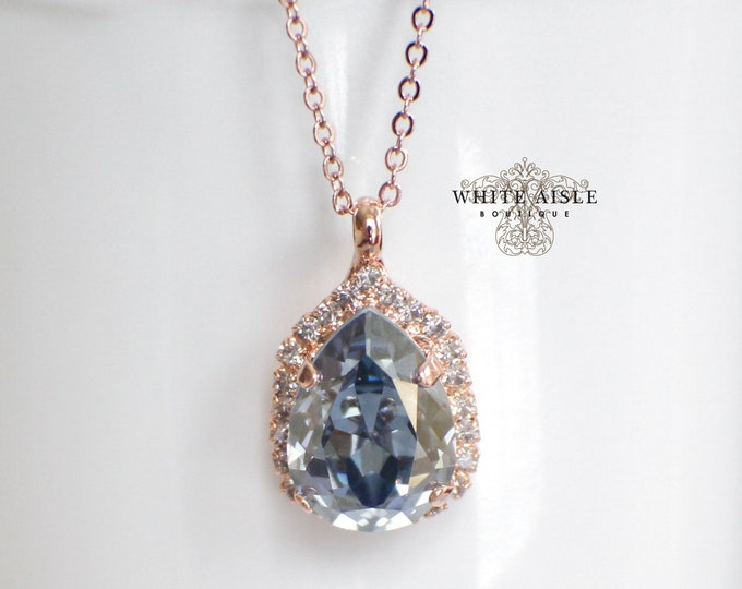 Dusty Blue Bridal Pendant Vintage Style Rose Gold Swarovski Crystal Wedding Necklace Special Occasion Jewelry