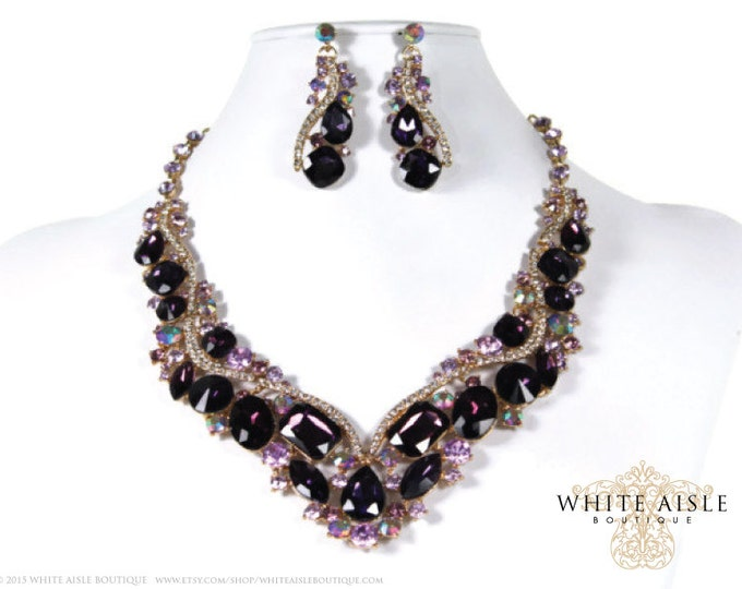 Purple Bridal Jewelry Set Statement Necklace Earrings Vintage Style Bridesmaids Special Occasion Jewelry