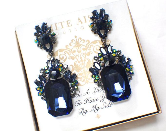 Navy Blue Bridesmaid Earrings Crystal Chandelier Earrings Bridesmaids Gift  Wedding Jewelry Vintage Style Earrings Bridal Party Gifts