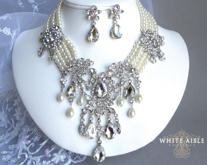 Pearl Bridal Jewelry Set Vintage Inspired Crystal Wedding Jewelry Set Pearl Crystal Statement Necklace Special Occasion Jewelry