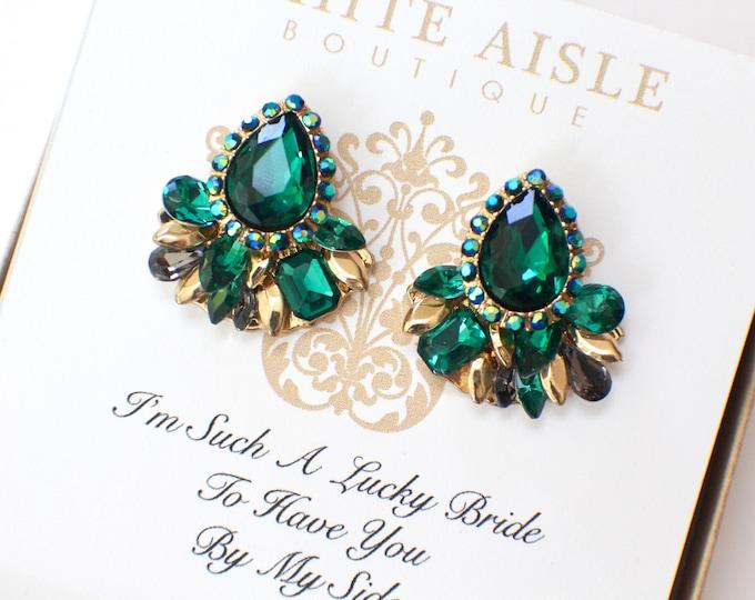 Bridesmaid Earrings Emerald Green Crystal Earrings Bridesmaids Gift Wedding Jewelry Vintage Style Bridal Bridesmaids Bridal Party Gifts