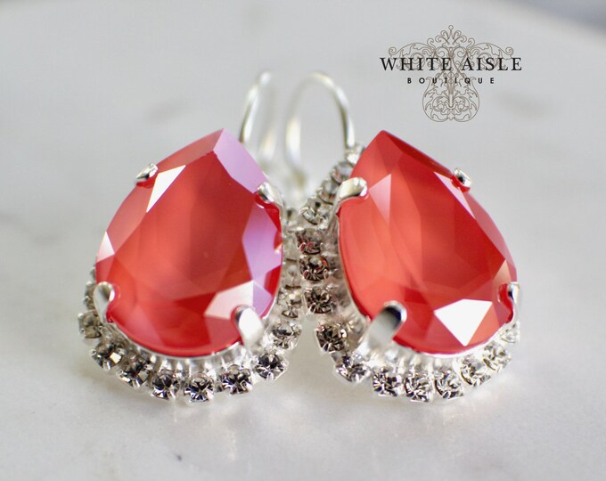 Coral Bridal Earrings Vintage Style Swarovski Crystal Wedding Earrings Lever Back Earrings Bridesmaids Gift Special Occasion Jewelry