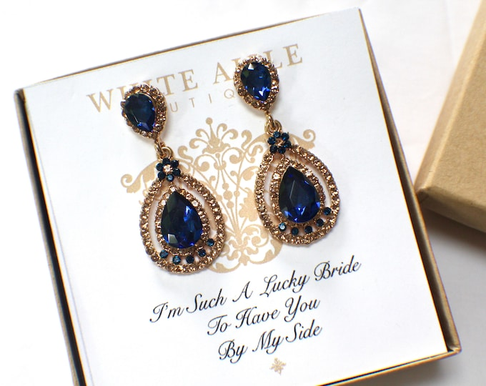Navy Blue Bridesmaid Earrings Vintage Style Champagne Crystal Earrings Bridesmaids Gift  Wedding Jewelry Bridesmaids Bridal Party Gifts