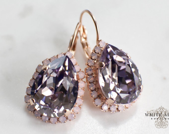 Mauve Bridal Earrings Vintage Style Swarovski Crystal Wedding Earrings Statement Earrings Special Occasion Jewelry Bridal Jewelry