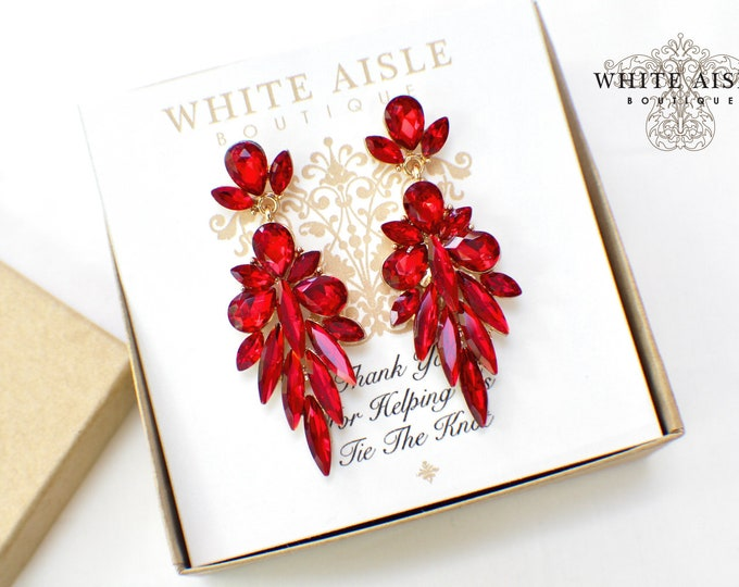 Bridesmaid Gifts | Bridesmaid Jewelry | Bridesmaid Earrings | Personalized Gifts |  Chandelier Earrings | Red Crystal Earrings