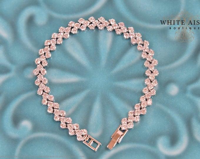 Crystal Wedding Statement Bracelet Vintage Inspired Cubic Zirconia Bridal 3 Row Tennis Bracelet Bridal Party Gifts Wedding Jewelry