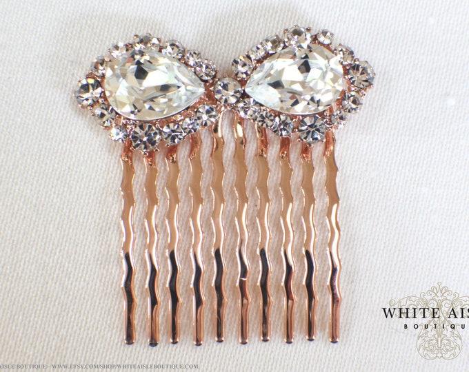 Rose Gold Bridal Jewelry Set Custom Swarovski Crystal Pendant Earrings Bracelet Hair Comb Hair Pins Art Deco Wedding Jewelry
