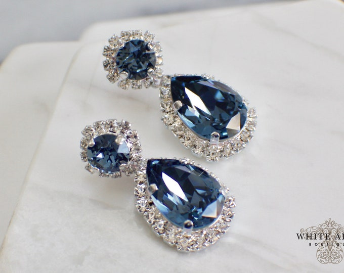 Blue Bridal Earrings Vintage Style Swarovski Crystal Silver Drop Earrings Wedding Statement Earrings Special Occasion Jewelry