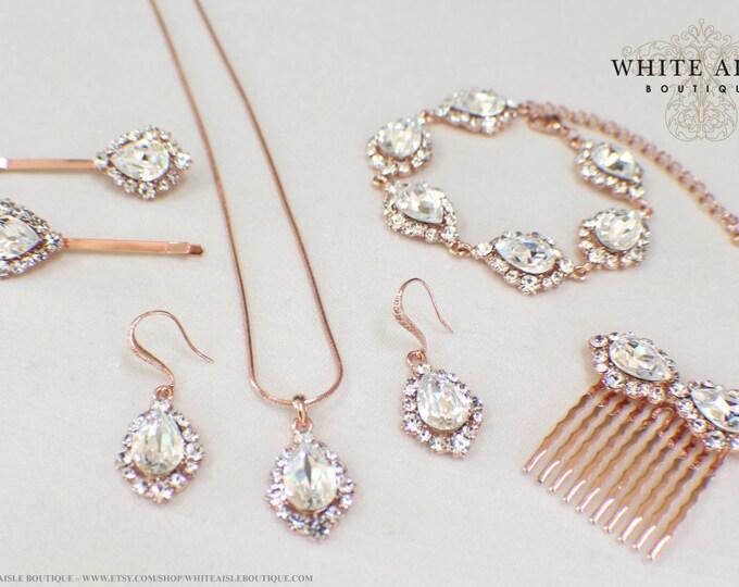 Custom Rose Gold Bridal Jewelry Set Swarovski Crystal Pendant Earrings Bracelet Hair Comb Hair Pins Art Deco Wedding Jewelry