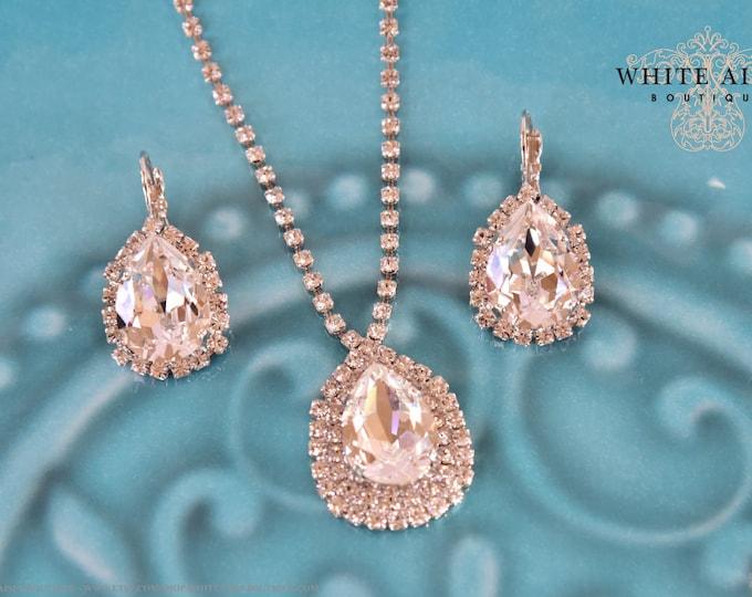 Custom Bridal Jewelry Set Swarovski Crystal Bridesmaids Jewelry Set Tear Drop Necklace Pendant Earrings Bracelet