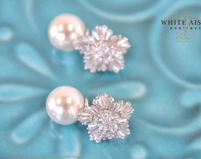 Vintage Style Pearl Cubic Zirconia Bridal Earrings Starburst Wedding Special Occasion Earrings Bridesmaid Bridal Party Gifts