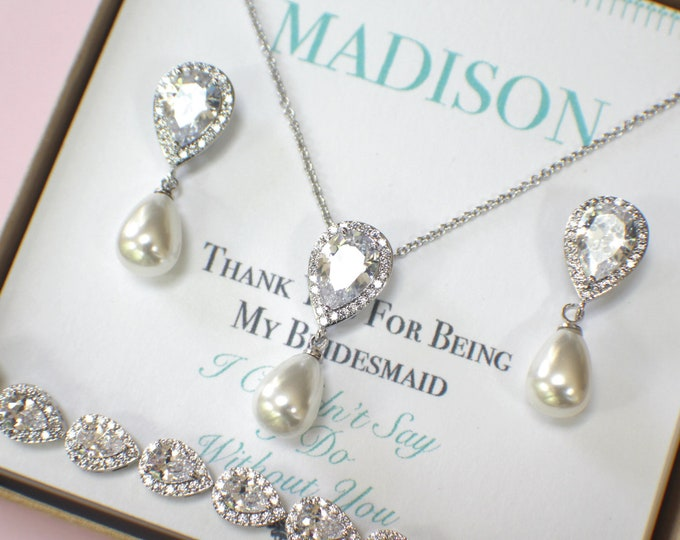 Pearl Bridesmaid Jewelry Set | Silver Bridesmaid Jewelry | Pearl Necklace |  Pearl Earrings | Personalized Gifts | Wedding Jewelry Sets