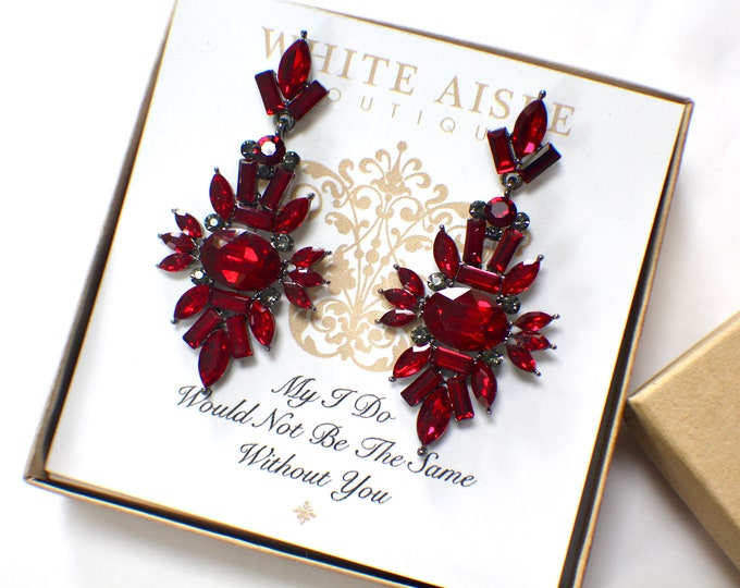 Red Bridesmaid Earrings Vintage Style Chandelier Earrings Bridesmaids Gift  Wedding Jewelry Bridesmaids Bridal Party Gifts