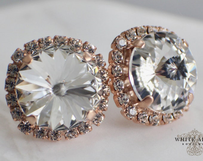 Bridal Stud Earrings Swarovski Crystal Wedding Earrings Vintage Style Rose Gold Stud Earrings Bridesmaid Gift Special Occasion Jewelry