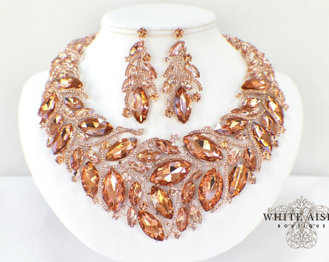 Blush Rose Gold Wedding Jewelry Set Vintage Style Crystal Statement Necklace Earrings Set Special Occasion Jewelry