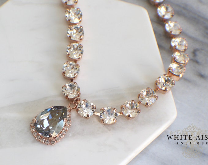 Dusty Blue Swarovski Crystal Bridal Necklace Rose Gold Vintage Style Wedding Statement Necklace Light Blue Pendant Drop