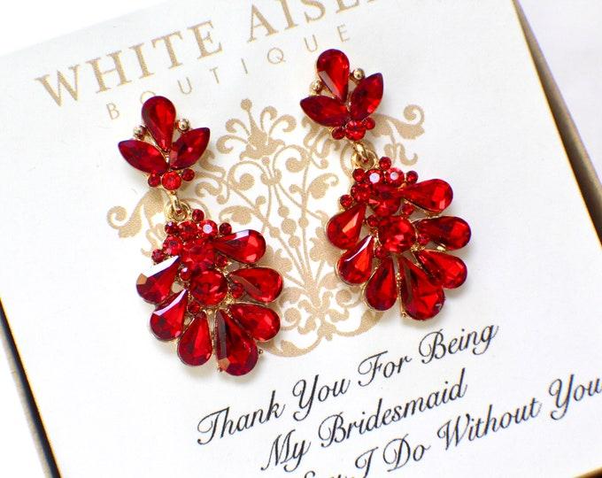 Bridesmaid Earrings | Bridesmaid Gifts | Personalized Gifts | Bridesmaid Jewelry | Chandelier Earrings | Red Crystal Earrings