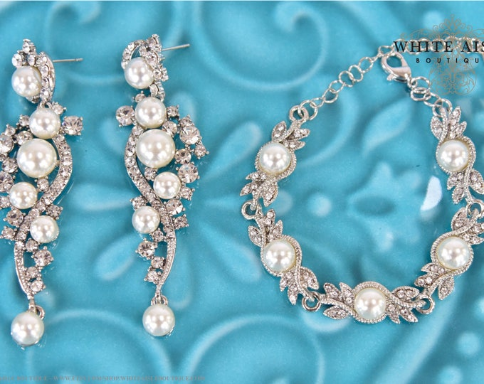 Pearl Crystal Bridal Earring Bracelet Set Vintage Inspired Pearl Wedding Statement Bracelet Dangle Earrings Evening Prom Pageant Jewelry
