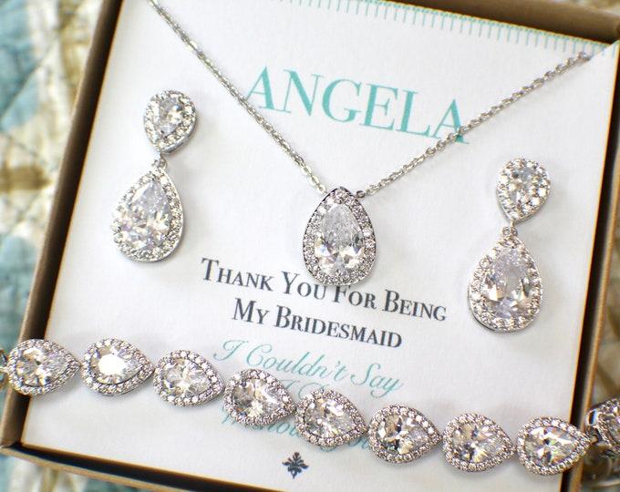Silver Bridesmaid Jewelry Set | Bridesmaid Gifts | Personalized Gifts | Wedding Jewelry Sets | Wedding Party Gifts
