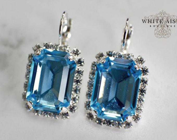 Aqua Bridal Earrings Victorian Wedding Earrings Swarovski Crystal Emerald Cut Earrings Wedding Special Occasion Jewelry