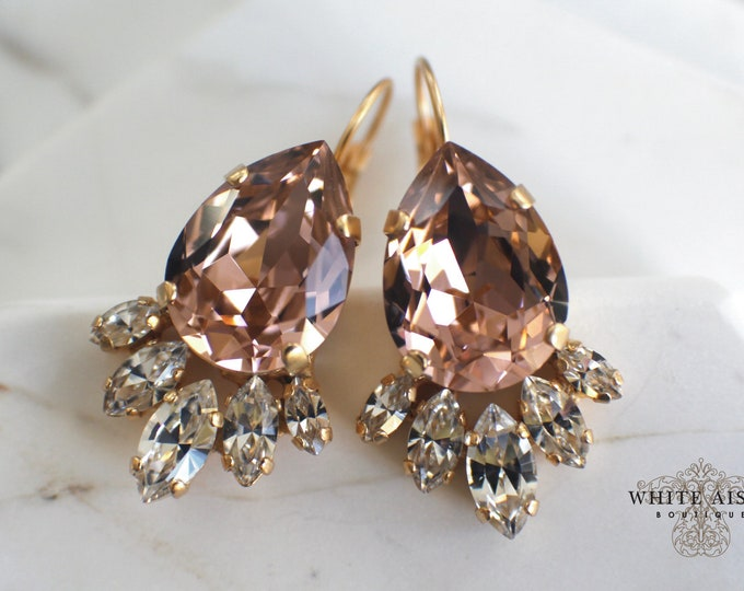 Blush Pink Swarovski Crystal Wedding Earrings Vintage Style Gold Bridal Earrings Lever Back Earrings Special Occasion Jewelry