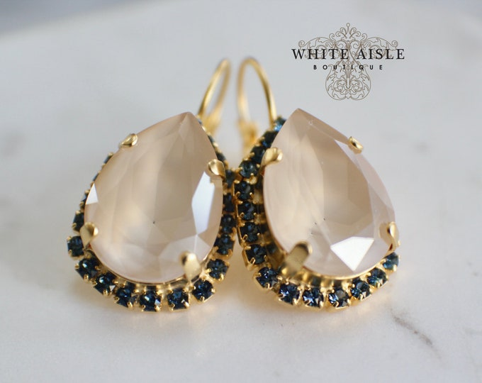 Ivory Bridal Earrings Vintage Style Navy Blue Swarovski Crystal Gold Wedding Statement Earrings Special Occasion Jewelry Bridal Jewelry