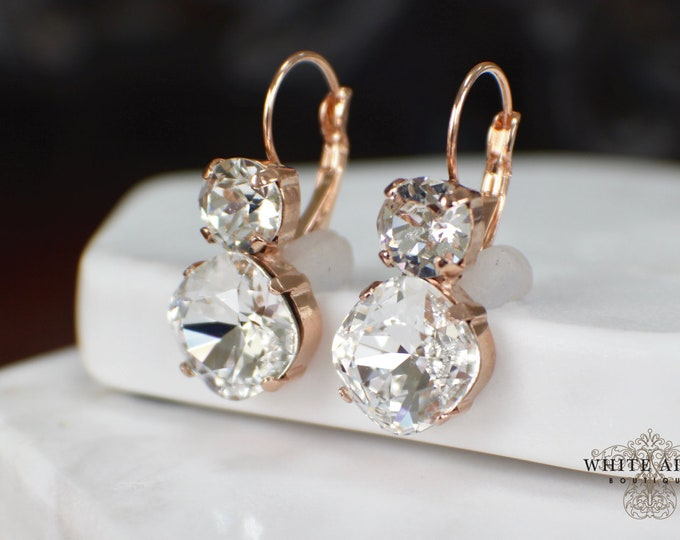 Swarovski Crystal Bridal Earrings Rose Gold Vintage Style Wedding Lever Back Dangle Earrings Special Occasion Jewelry