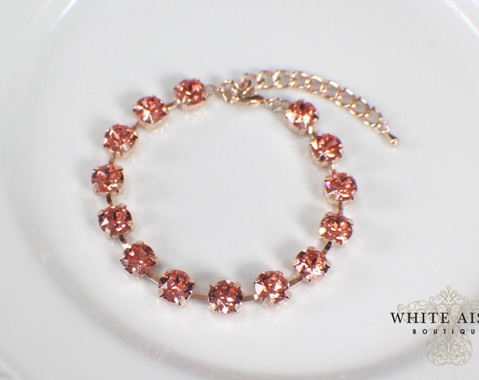 Rose Peach Bridal Bracelet Rose Gold Swarovski Crystal Wedding Tennis Bracelet Wedding Statement Bracelet Special Occasion Jewelry