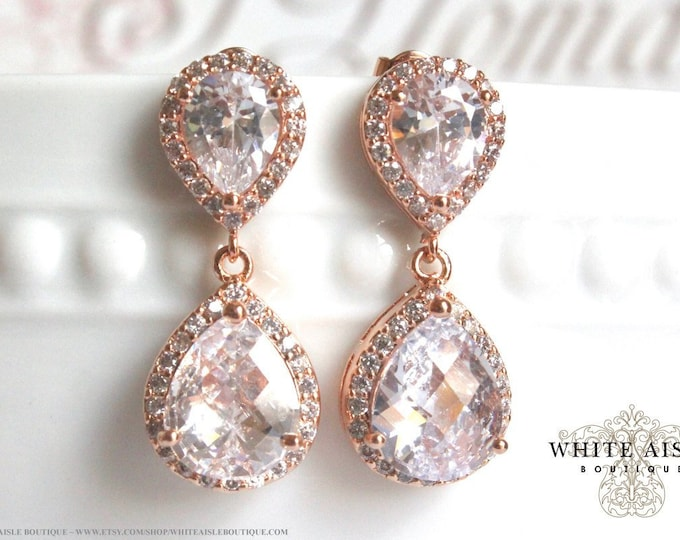 Vintage Style Bridal Earrings Faceted Cubic Zirconia Tear Drop Crystal Earrings Crystal Earrings Wedding Earrings Special Occasion Jewelry