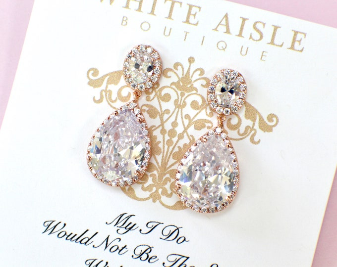 Rose Gold Bridesmaid Earrings | Bridesmaid Gifts | Bridesmaid Jewelry | Cluster Earrings | Personalized Gifts | Bridal Earrings